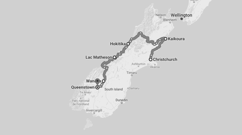 Itinéraire pour parcourir l'île du sud en 5 jours Nouvelle Zélande