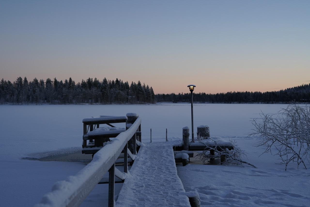 Laponie Finlandaise Décembre Pêche lac gelé