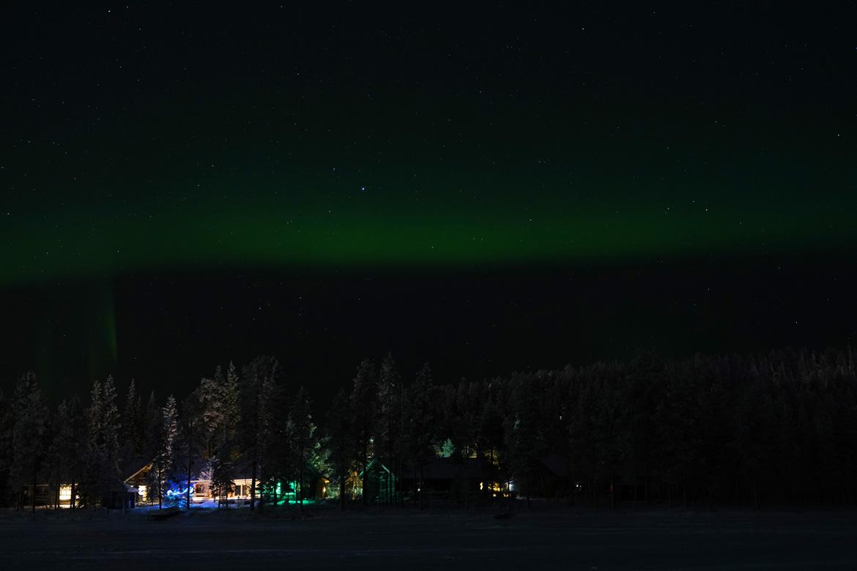 ruka station ski finlande aurores boréales