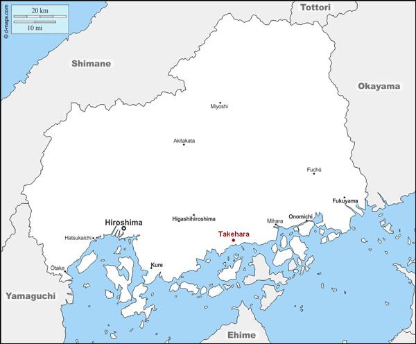 Takehara Préfecture Hiroshima Carte Japon